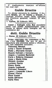 necrologio Druetto ESCAPE='HTML'
